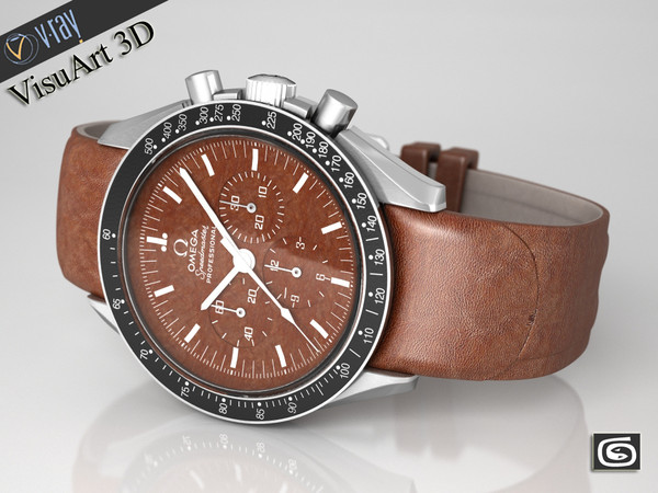 3d omega speedmaster watches model - Omega Speedmaster Brown Leather... by VisuArt3D